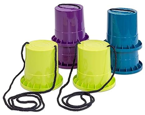Unbekannt Laufstelzen-Set - 3 Paar in lila - Limette - Petrol - Kinder-Topfstelzen