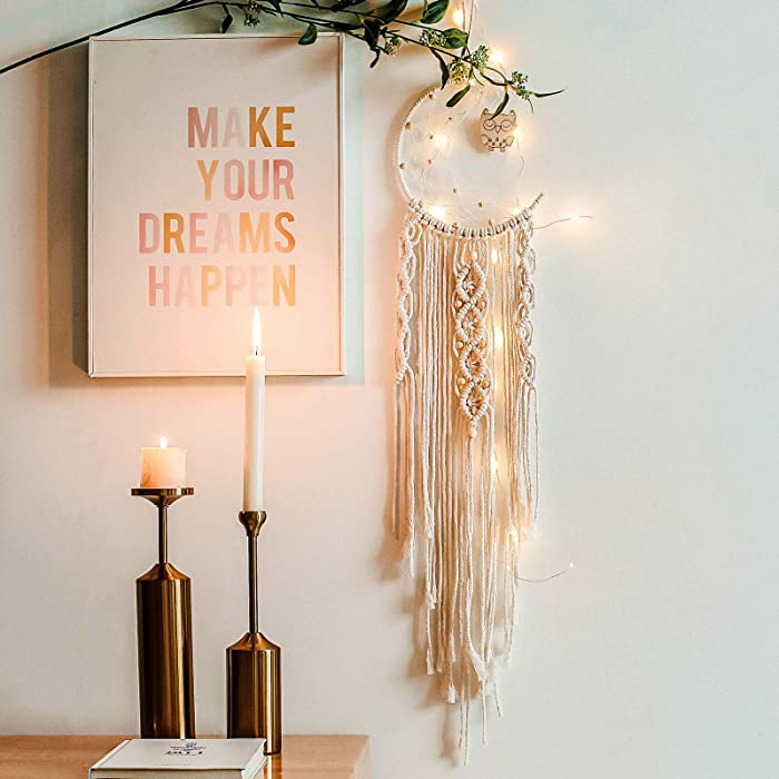 JOBOSI Dreamcatcher Moon + Owl, Girl Room Decor, Girls Decorations for Room, Moon Decor Wall Decorations, Macrame Wall Decor Room Decorations for Women Wall Decoration