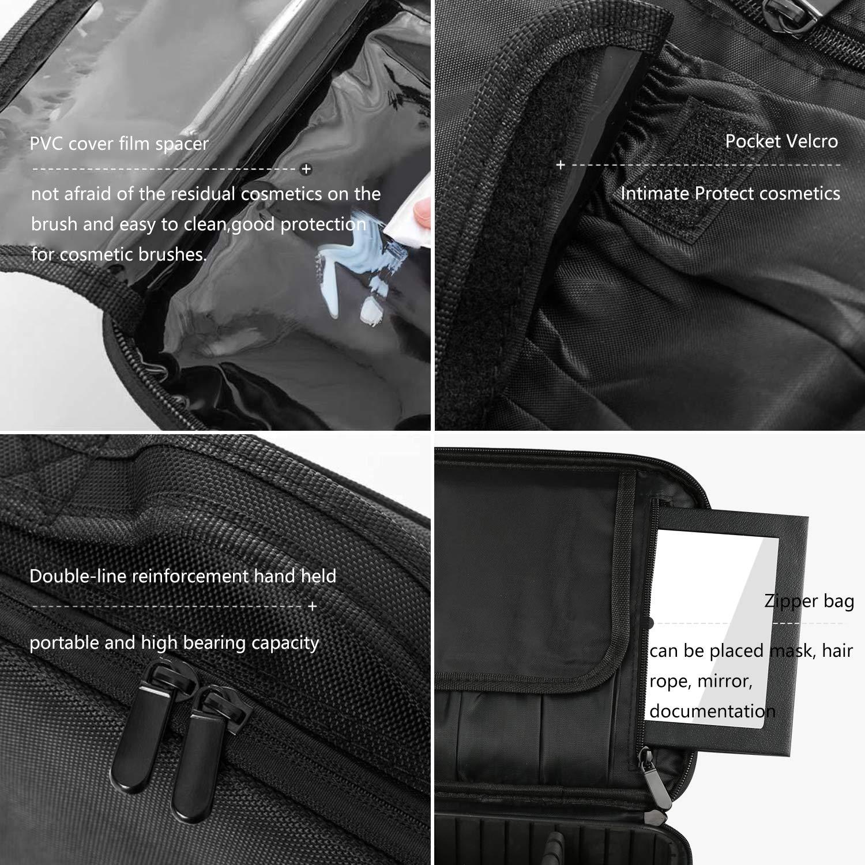 Travel Makeup Bag, Portable Organizer Makeup Bag Cosmetic Train Case with Mirror
