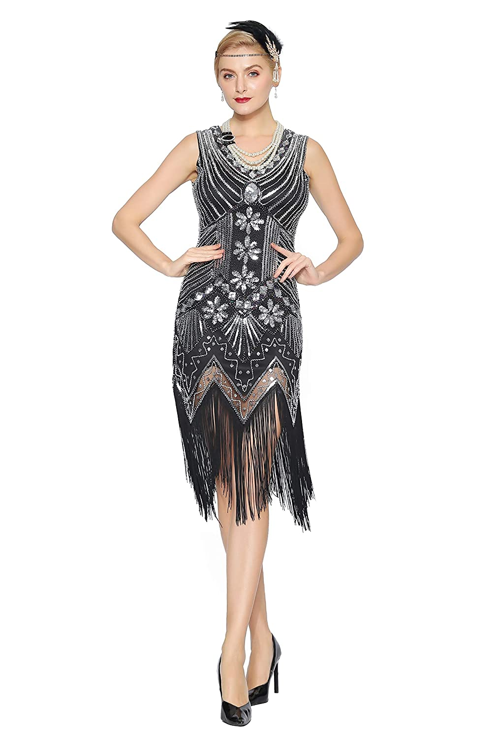 Roaring 20s Costumes- Flapper Costumes, Gangster Costumes Metme Womens Flapper Dress 1920s V Neck Beaded Fringed Gatsby Theme Raoring 20s Dress for Prom $35.99 AT vintagedancer.com