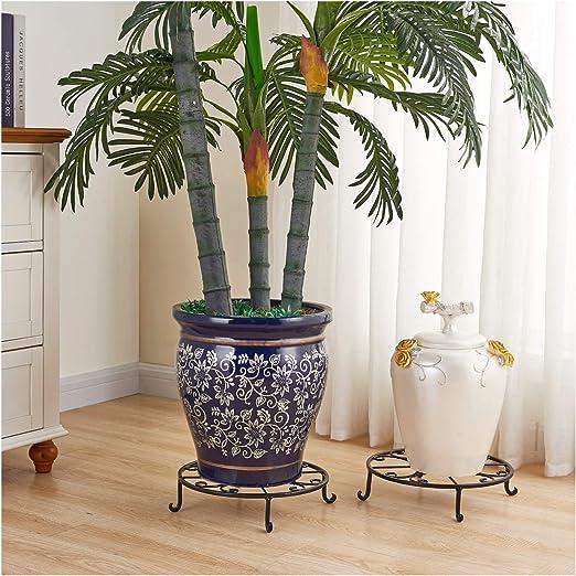 Faithland - Juego de 2 soportes para macetas de 30 cm, resistentes, para macetas, macetas, macetas de hierro sólido para macetas grandes y pesadas, macetas decorativas, soporte para contenedores, color negro: Amazon.es: Jardín