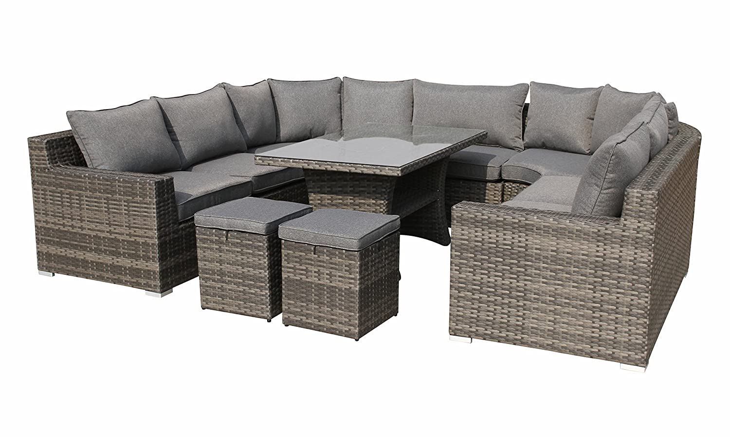 xxl hohe dining poly rattan lounge epic inkl zwei hockern von pure home garden g nstig. Black Bedroom Furniture Sets. Home Design Ideas