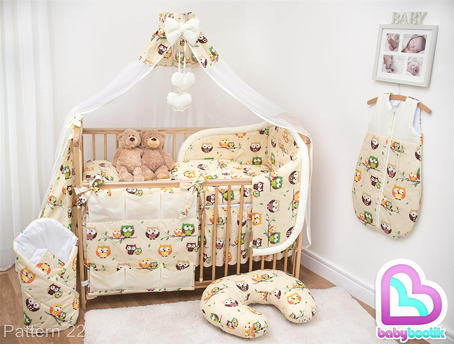 7 Pcs Baby Bedding Set with Cot Canopy, Padded Thick Bumper 190cm, 140x70cm - Pattern 22 Baby Comfort