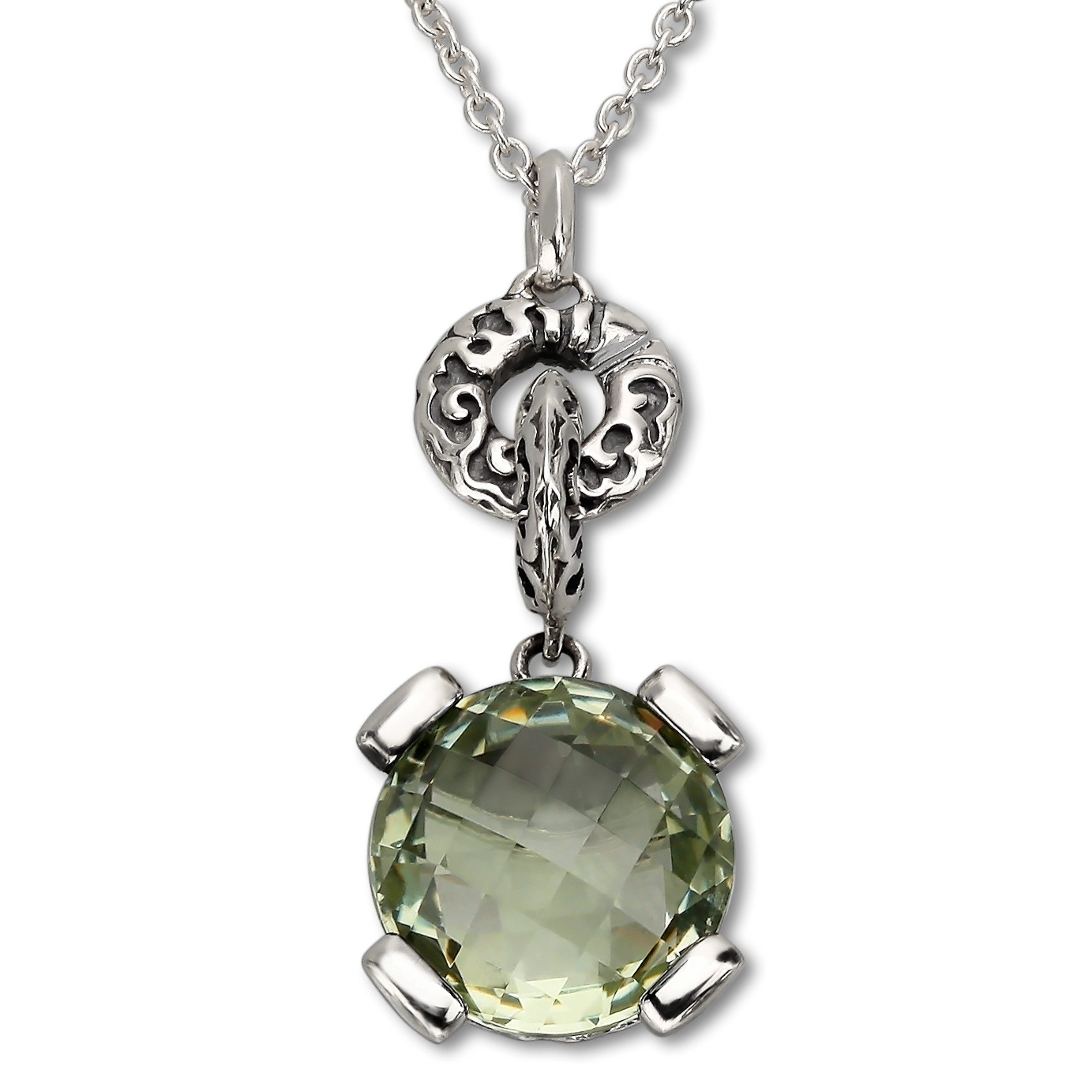 Evert Degraeve 6 ct Green Amethyst Pendant Necklace in Sterling Silver
