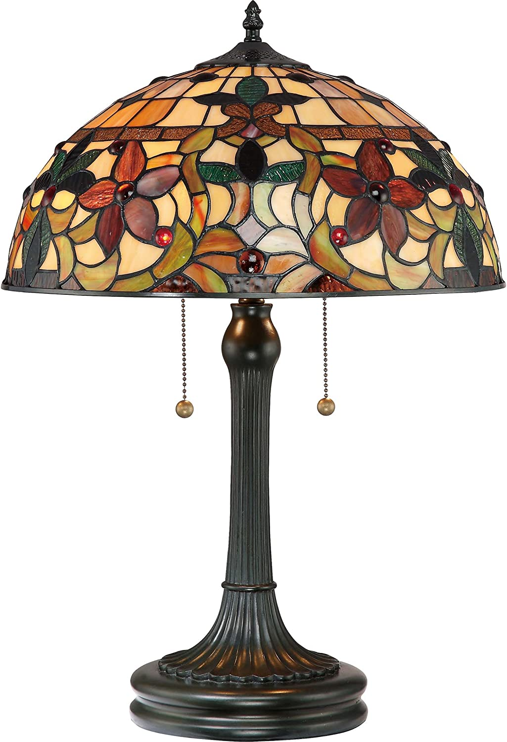 "Quoizel TF878T Kami Flower Tiffany Table Lamp, 2-Light, 150 Watts, Vintage Bronze (23"" H x 16"" W)"