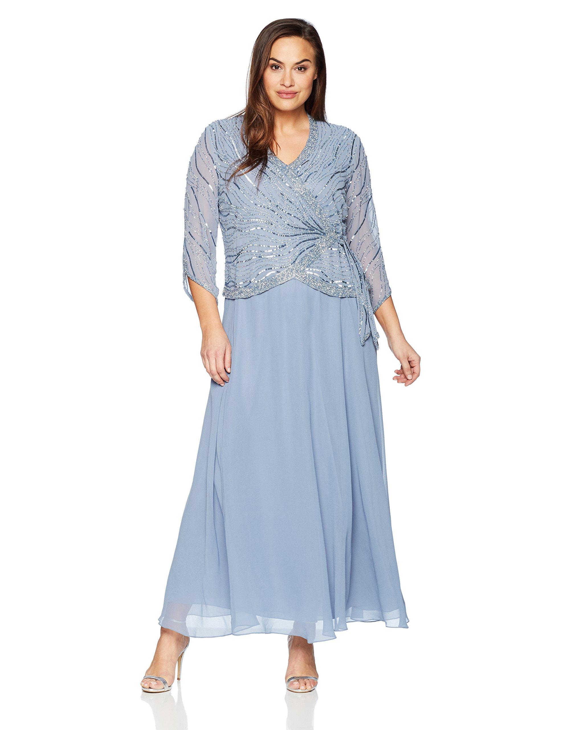 a41243eadf4 ... Kara Women's Plus Size Long 3/4 Sleeve V-Neck Beaded Faux Wrap Dress,  Dusty Blue/Silver, 24W. ; 