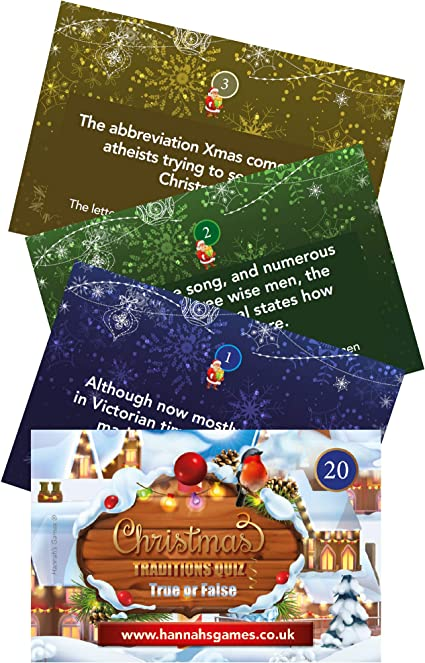 Christmas Traditions Game Pocket Quiz Trivia , 20 True or False Christmas  Games Question Cards, Family Table Or Xmas Eve Box Or Cracker Fillers Or