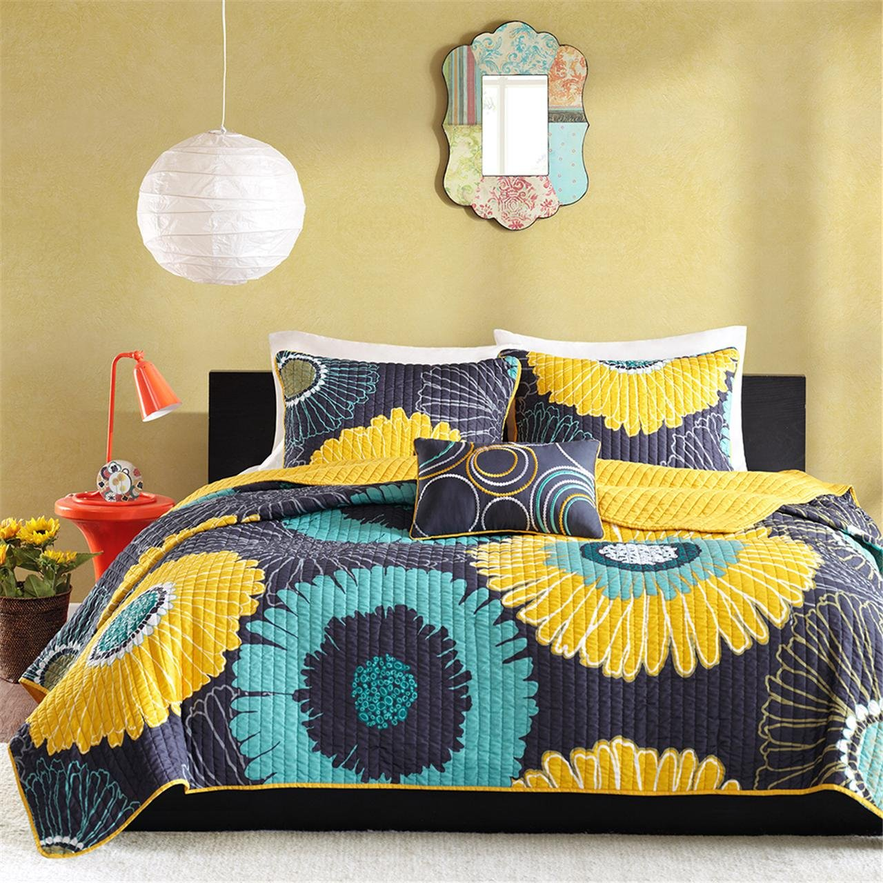 Mi-Zone Alice Full/Queen Girls Quilt Bedding Set - Yellow, Navy, Teal, Floral – 4 Piece Teen Girl Bedding Quilt Coverlets – Ultra Soft Microfiber with 100%