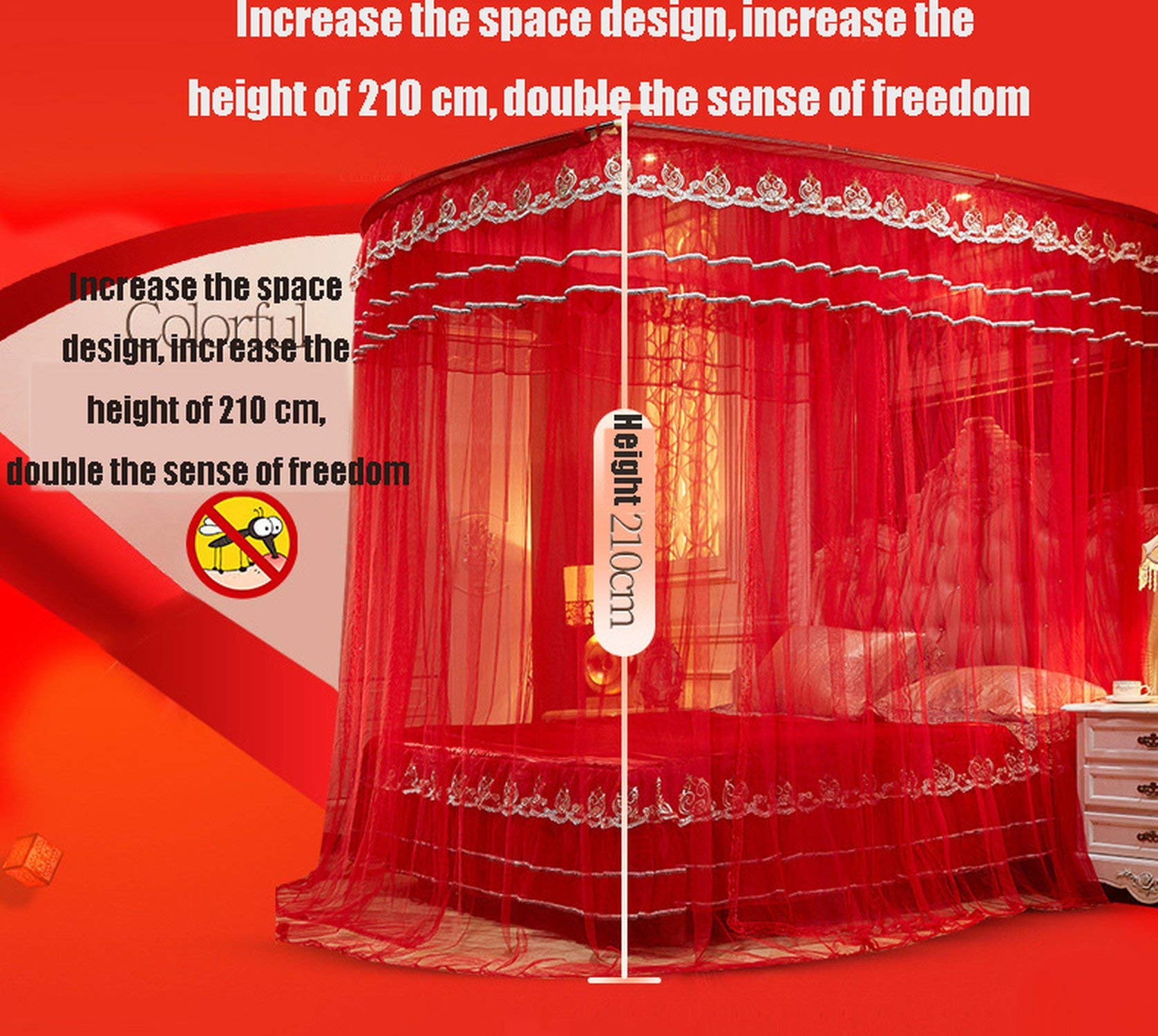 Fishing Rod Retractable Mosquito Net Multi Size Wedding Lace Mosquito Net 50D Encryption Soft Yarn Nice Bed Decor,Red,1.5Mwx2Mlx2.1Mh by special shine-shop mosquito net (Image #6)