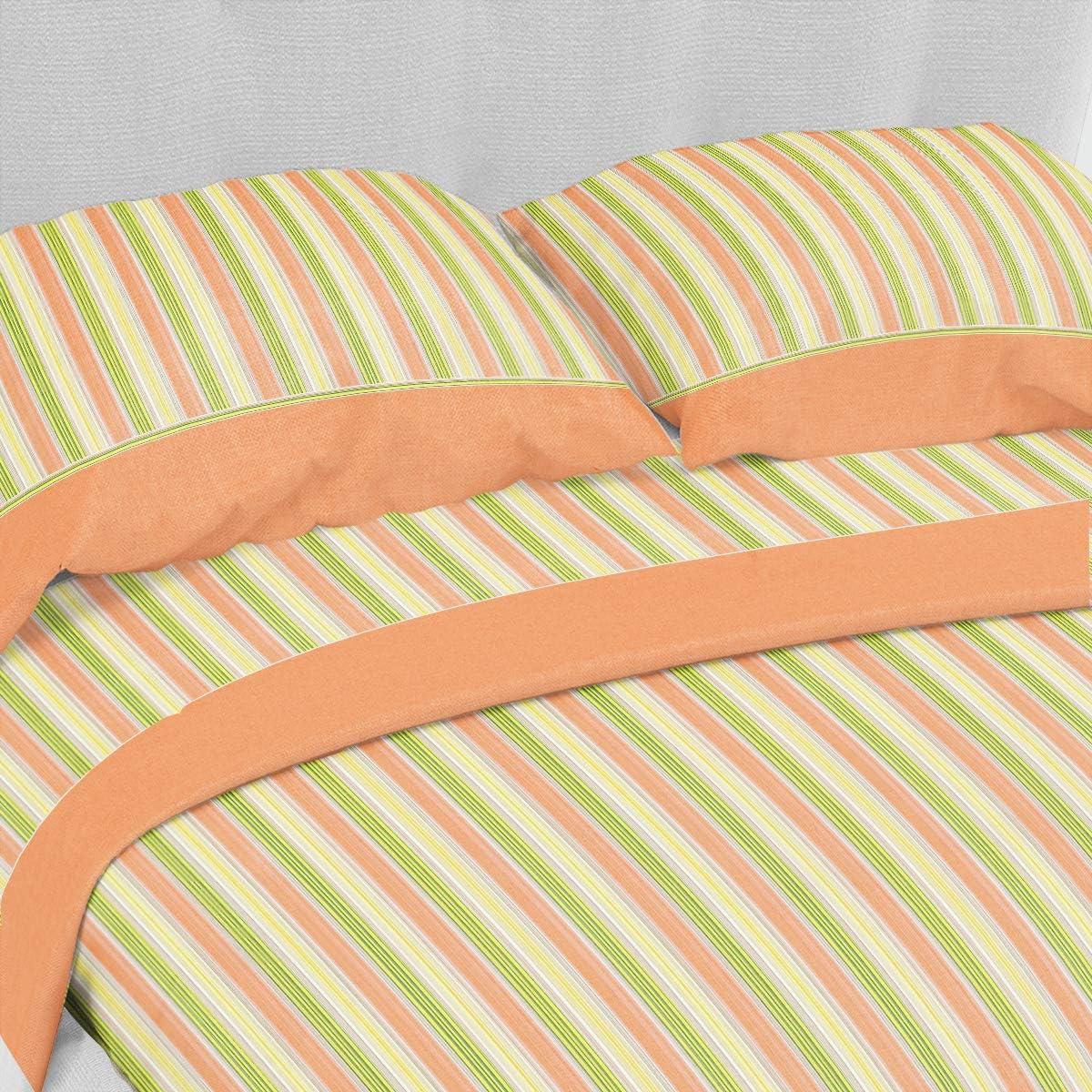 CASANOV/è Set Completo Letto Lenzuola Matrimoniale 2P Stampato in Morbida Microfibra PRODTTO Mede in Italy in 12 Varianti Linea Basic Carry Arancio, Matrimoniale 2P