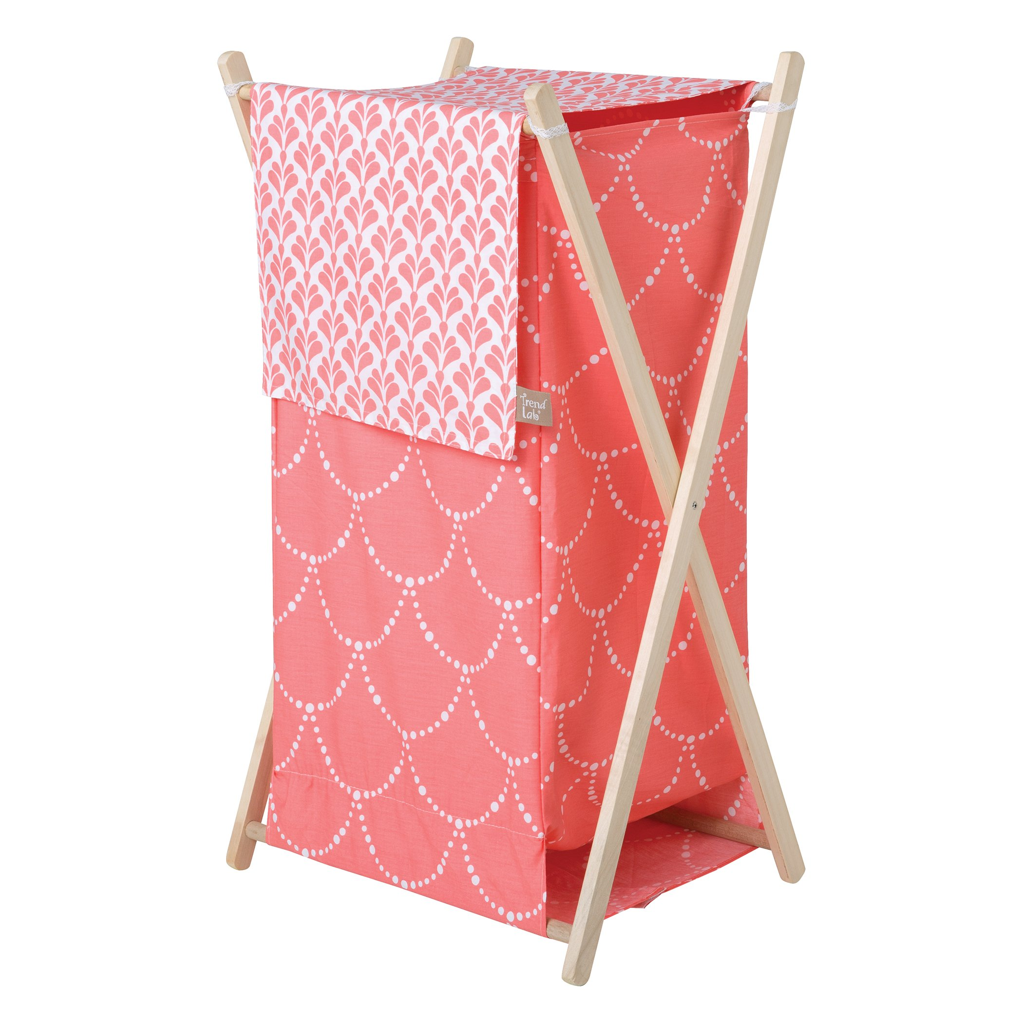 Trend Lab Shell Hamper Set, Coral, White