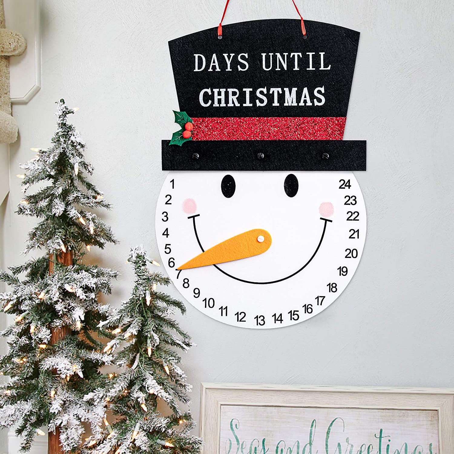 hogardeck 13IN Snowman Advent Calendar 2020, Christmas Decoration Indoor/Outdoor Hanging Sign, Days Until Christmas Countdown, Holiday Wall Decor