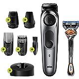 Braun BT7240 erkek sakal düzeltme ve saç kesme makinesi, 39 uzunluk ayarı, siyah/gri metalik