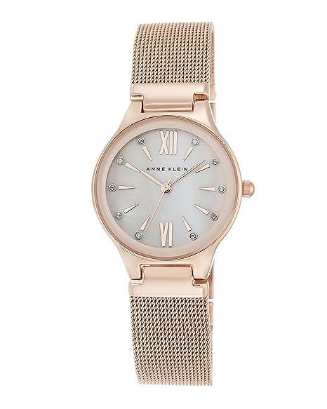 Anne Klein Reloj de Cuarzo para Mujer con Rosa Esfera Analógica Pantalla y Pulsera de aleación de Oro Rosa AK/n2418bmrg: Amazon.es: Relojes