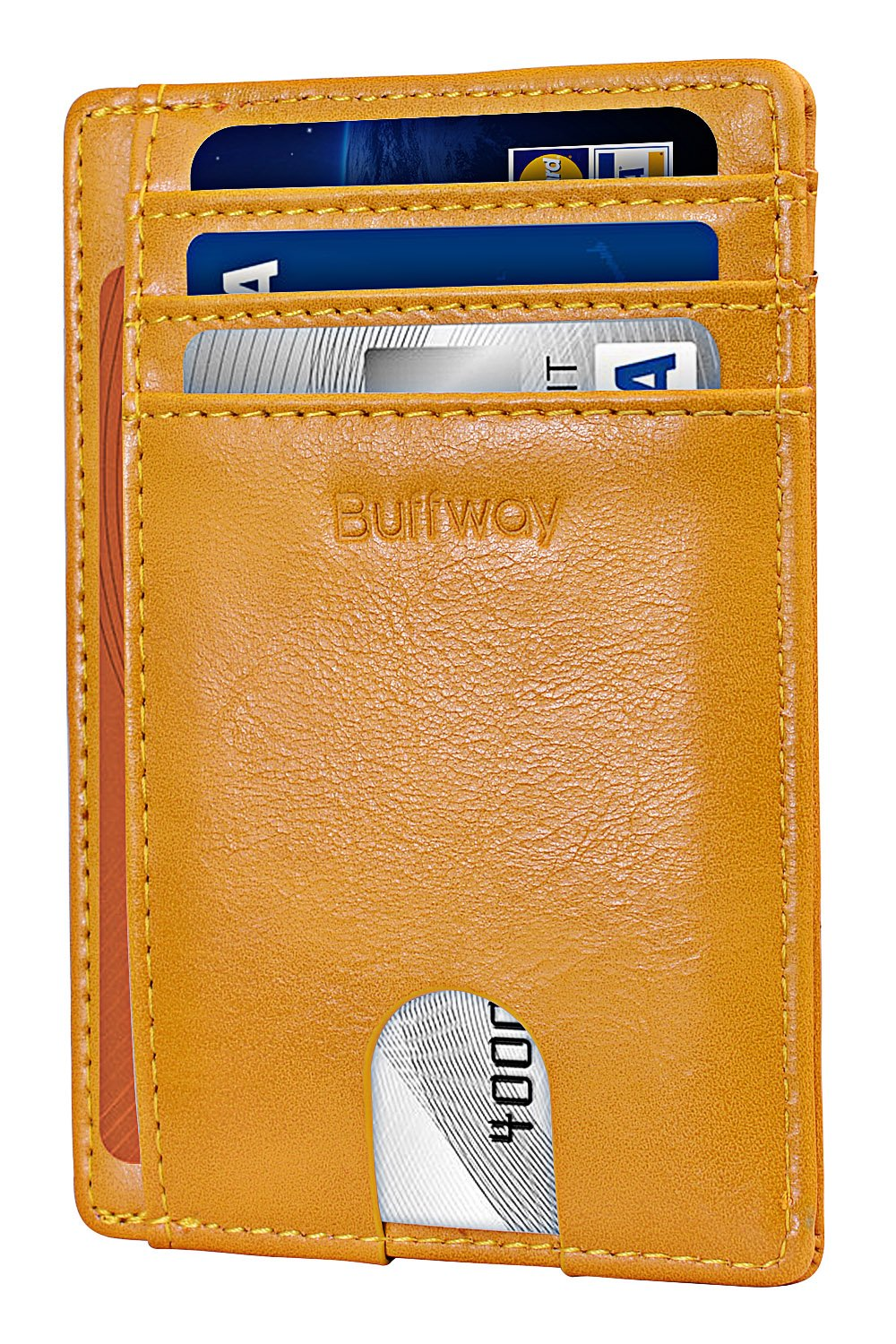 Slim Minimalist Leather Wallets for Men & Women - Alaska Yellow