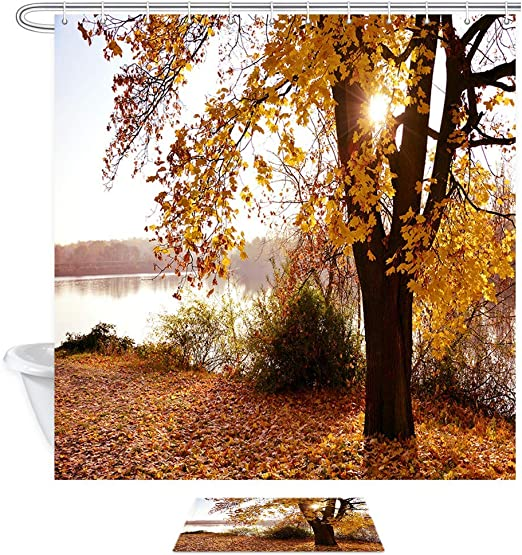Shower Curtain Autumn Trees Branches Leaves Bathroom Mat Waterproof Fabric 180cm