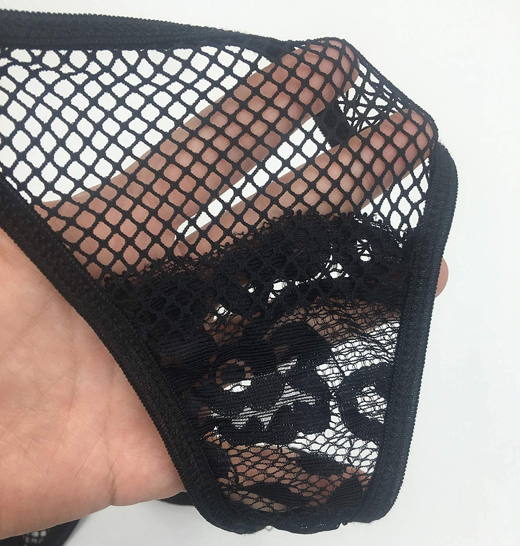 DEARAIMILI Women Lingerie Lace Openwork V Neck Hanging Backless Garters Babydoll