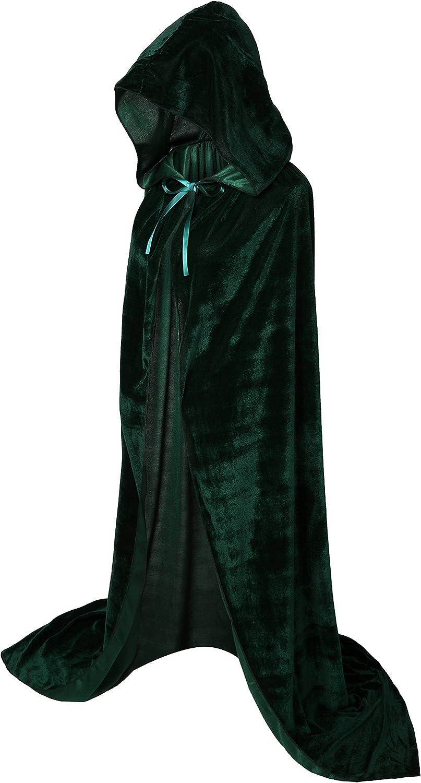 Capa Vglook, longitud completa, con capucha, unisex, para adultos, de terciopelo, para disfraces, Carnaval y Halloween, 150 cm