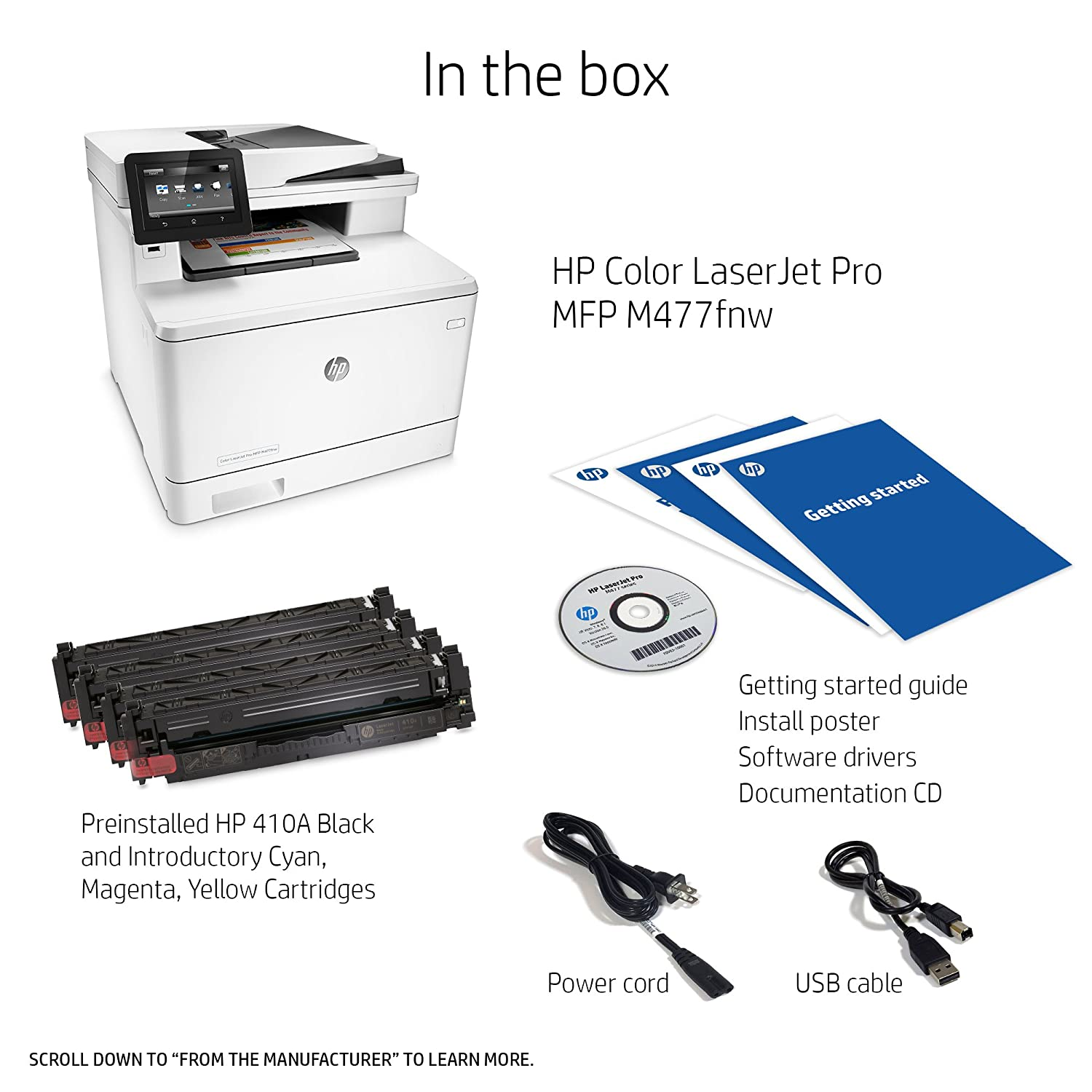 Amazon.com: HP Laserjet Pro M477fnw Multifunction Wireless Color Laser  Printer with Built-in Ethernet, Amazon Dash Replenishment Ready (CF377A):  Electronics