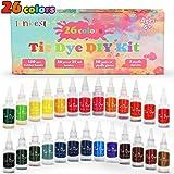 lenbest 26 Colores Tie Dye DIY Kit, Conjunto de Tinte Tie Tie de un Solo Paso Camisa Tela Tinte Duministros No Tóxicos…