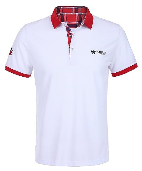 36a67fe297181b Schonlos Herren Poloshirt Kurzarm Patchwork Sommer T-Shirt Men s Polo Shirt (Weiß