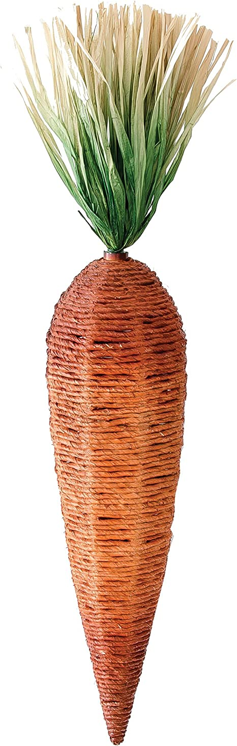 Amazon Com Easter Large Rustic Carrot Paper Raffia Wire Orn73304 Home Kitchen