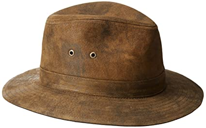 af6a37a2555591 Stetson Men's Weathered Leather Safari Hat, Brown, Large: Amazon.in ...