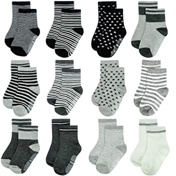 12 Pairs Baby Infant Socks Boy Girl Cotton Grip Anti Slip Knit Breathable Socks