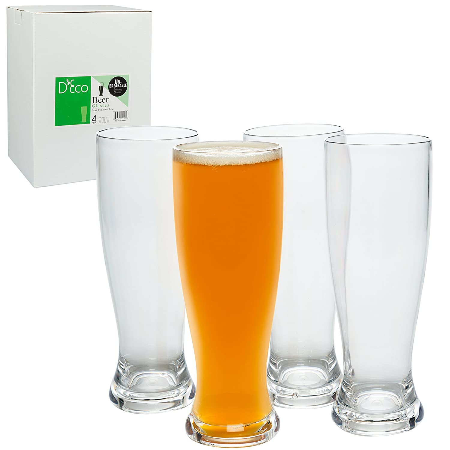 Unbreakable Beer Glasses 24oz - 100% Tritan - Set of 4 - Shatterproof, Reusable, Dishwasher Safe D'Eco SYNCHKG039729