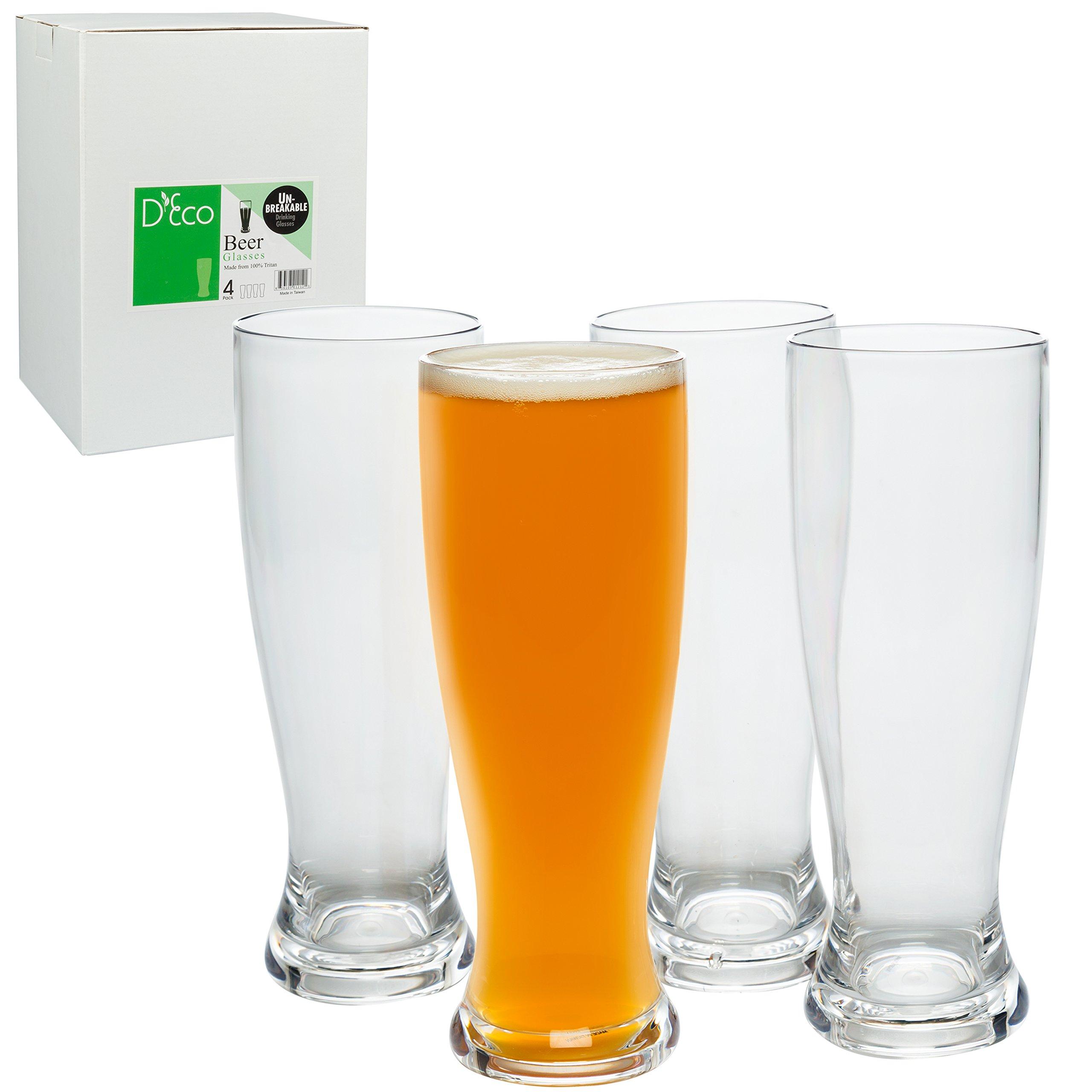 Unbreakable Beer Glasses 24oz - 100% Tritan - Set of 4 - Shatterproof, Reusable, Dishwasher Safe by Deco (Image #1)