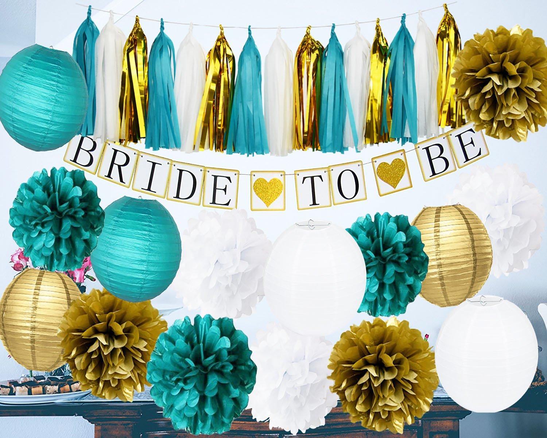 Furuix Bride Shower Decorations Bride To Be Banner White Teal Gold Tissue Pom Pom Paper Lanternd Tassel Garland Hen Party/Bachelorette Party Decorations Kit - Bridal Shower Supplies by Furuix