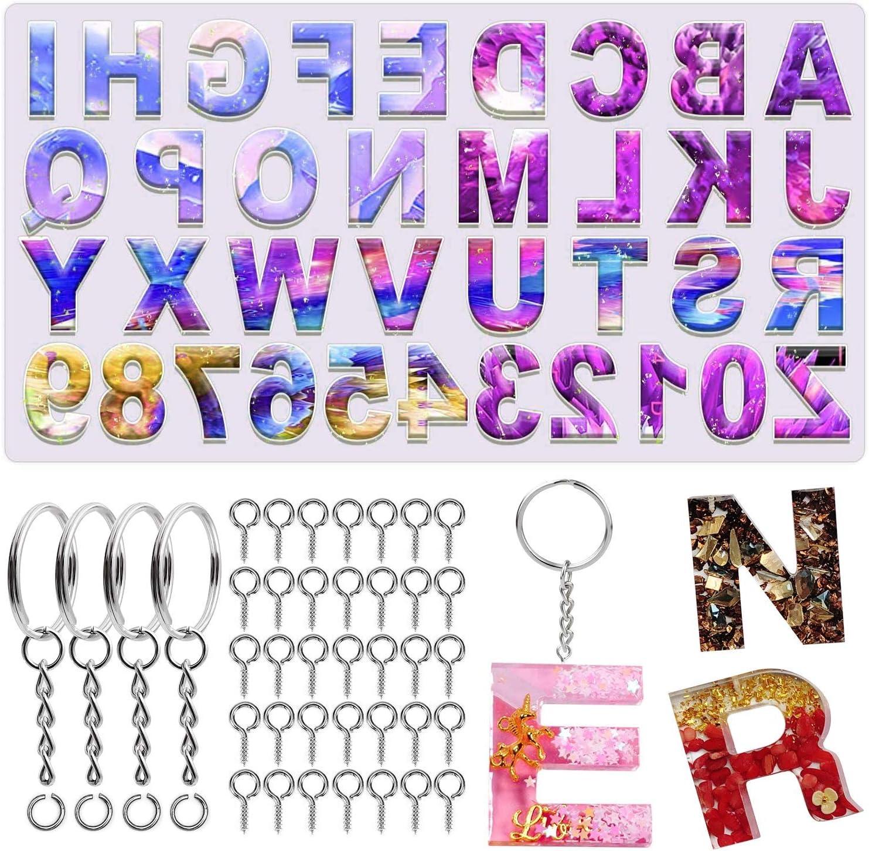 molde silicona para resina alfabeto espejo + kit ganchos