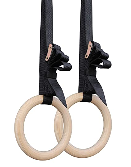 Titan Wooden Gymnastics Rings With Cam Buckle Straps Home Gym Equipment 8