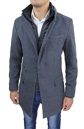 Cappotto Uomo Sartoriale Slim Fit Giaccone Soprabito Invernale Casual Elegante con Gilet Interno