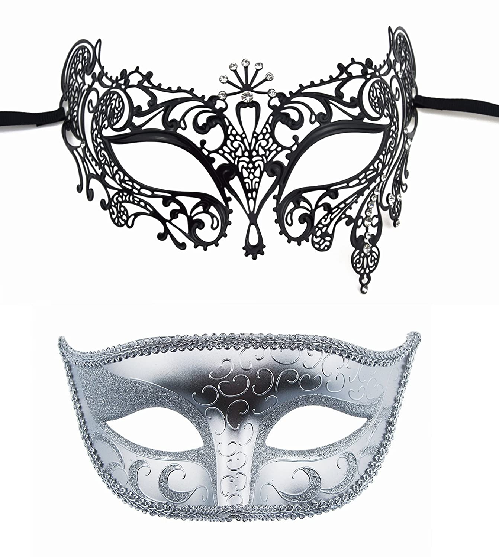 Pattern 2 TANKEY His and Hers Venetian Mask Set Party Mask Set Masquerade Mask Wedding Ball Halloween Mask Mardi Gras Mask