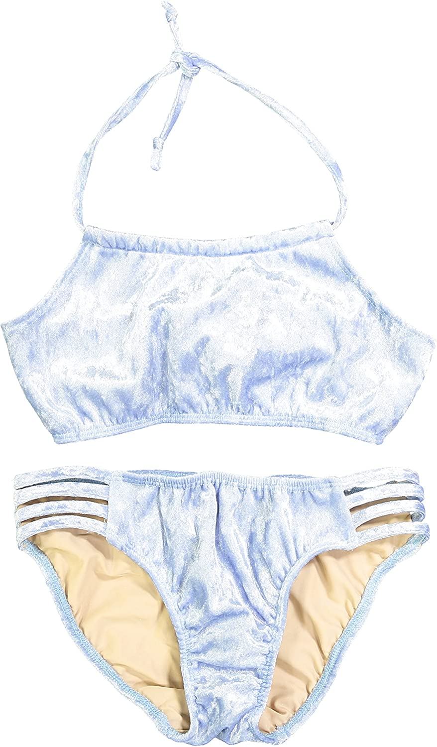 Swimsuit Cheryl Creations Kids Girls Light Blue Cute /& Comfortable Two Piece Velvet Bathing Suit Bikini