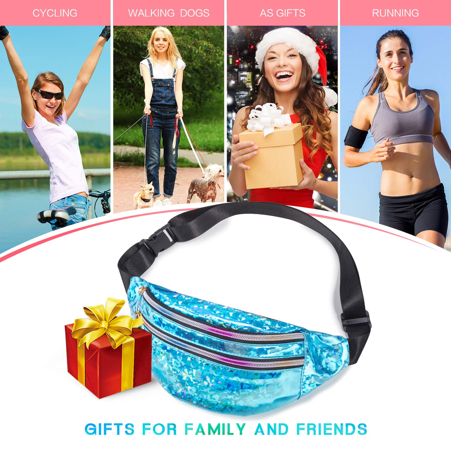 Fashion Waterproof Waist Pack with 3 Pouches Adjustable Strap Shiny Causal Bags Cute Bum Bag Hip Sacks for Travel Festival Hiking Rave Fanny Pack Belt Bag Holographic Fanny Packs for Women Men Kids