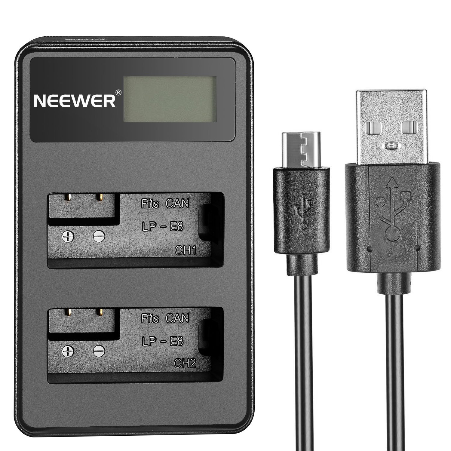 Neewer USB Dual Battery Charger with LED Display 5V/2A Input for Canon LP-E8 Rechargeable Battery, Suitable for Canon EOS Rebel T5i T4i T3i T2i EOS 600D 550D 700D Kiss X5 X7i LC-E8E Cameras,BG-E8 Grip 10089198
