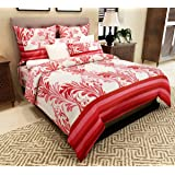 Home Candy Soothing 144 TC Cotton Double Bedsheet with 2 Pillow Covers - Paisley, Pink