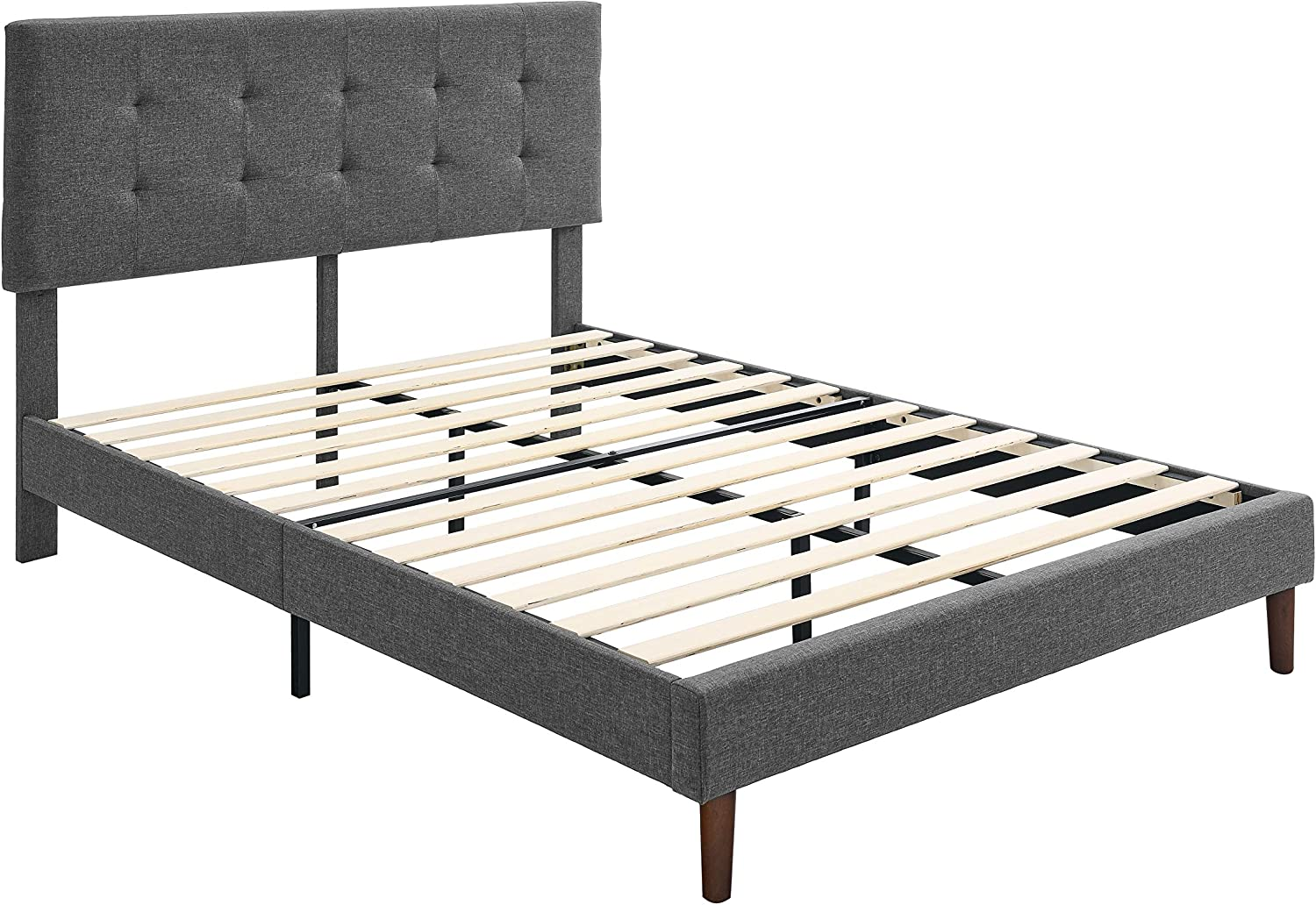 AmazonBasics Faux-Linen Upholstered Square Stitched Platform Bed - Mattress Foundation - Easy Assembly - Strong Wood Slat Support-Dark Grey, Twin