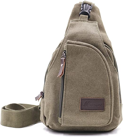Black Multifunction Mens Chest Bag Canvas Shoulder Bag Fashion Casual Messenger Chest Bag Crossbody Sling Bags Male