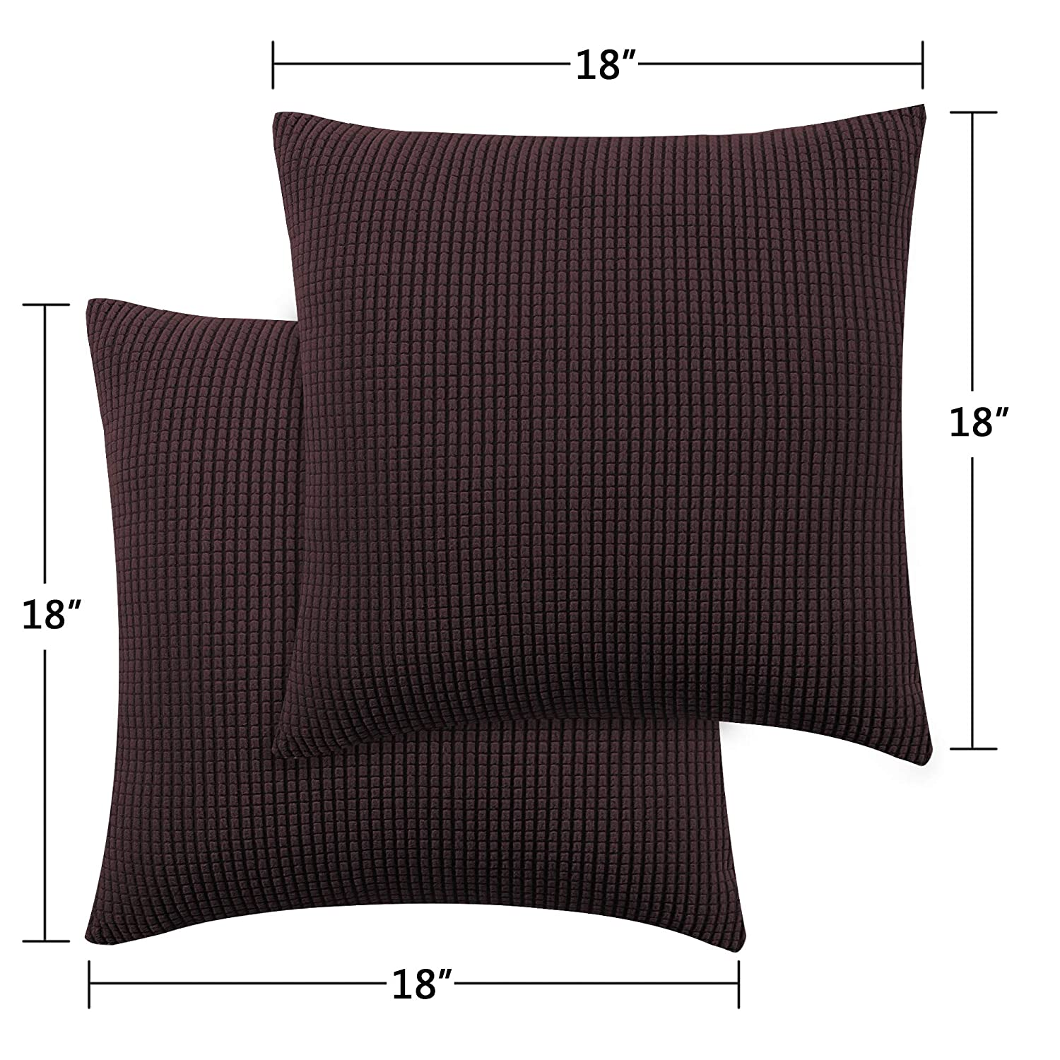 Pillow Covers for Couch//Sofa//Bedroom H.VERSAILTEX Textured Small Checked Soft Square Throw Pillow Covers Set Spandex Jacquard Fabric Pillow Cases for Throw Pillow 18x18 inch Charcoal Gray