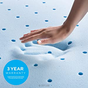 LUCID 4 Inch Gel Memory Foam Mattress Topper-Ventilated Design-Ultra Plush-Full