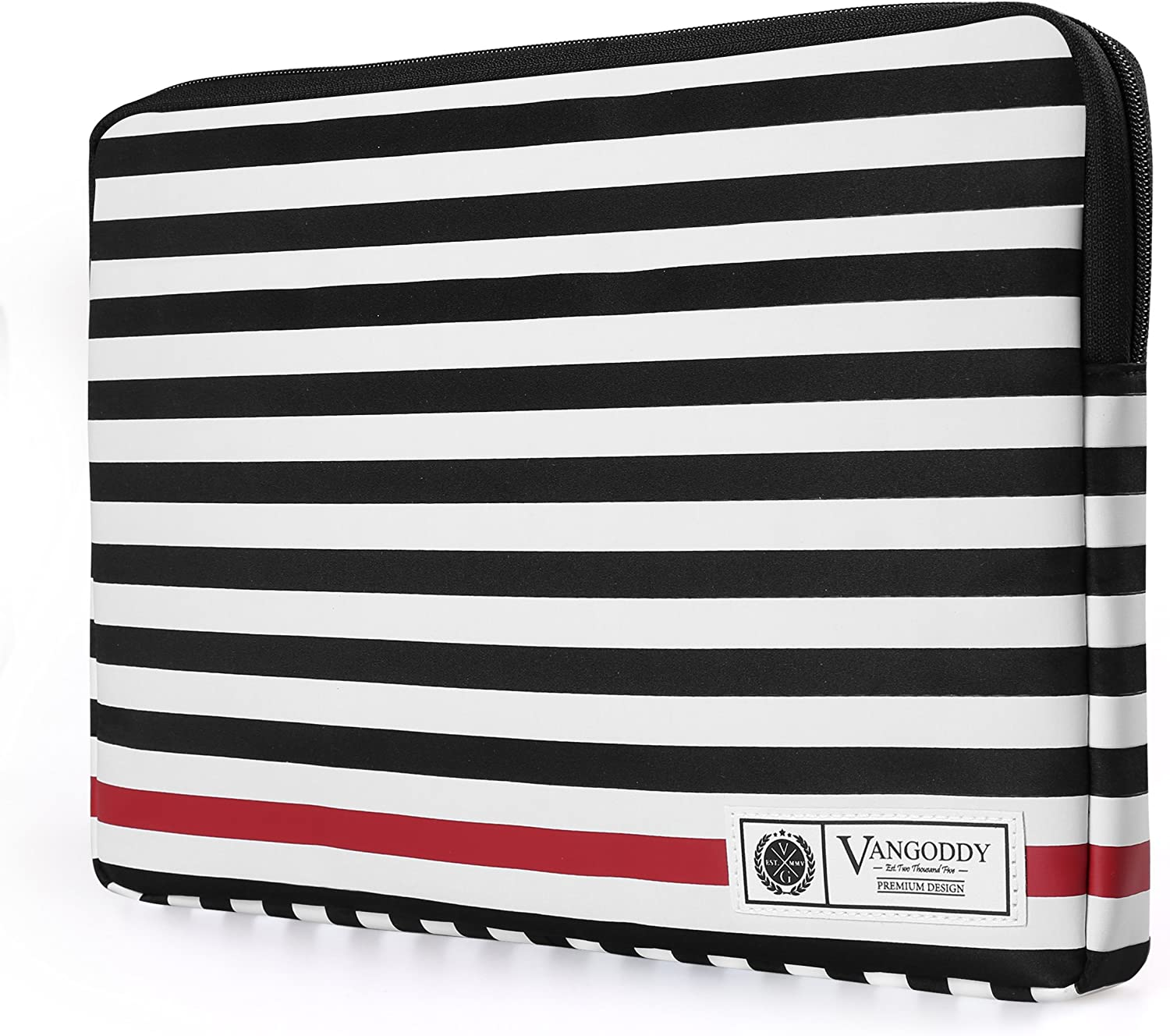 Vangoddy Luxe R Series Classic Black White Stripe Padded Sleeve for Dell Chromebook 13, Latitude 13, Vostro 14, Inspiron 13 14 15 Series 13.3 inch 14 inch Tablet Laptop