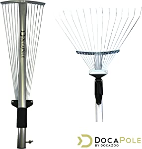 DOCAZOO DocaPole Roof Rake Extension Pole Attachment // Adjustable Roof Rake Attachment for Cleaning Leaves, Sticks and Debris from Roof // Standard Acme Threading // Dual-Use Yard Rake for Lawn