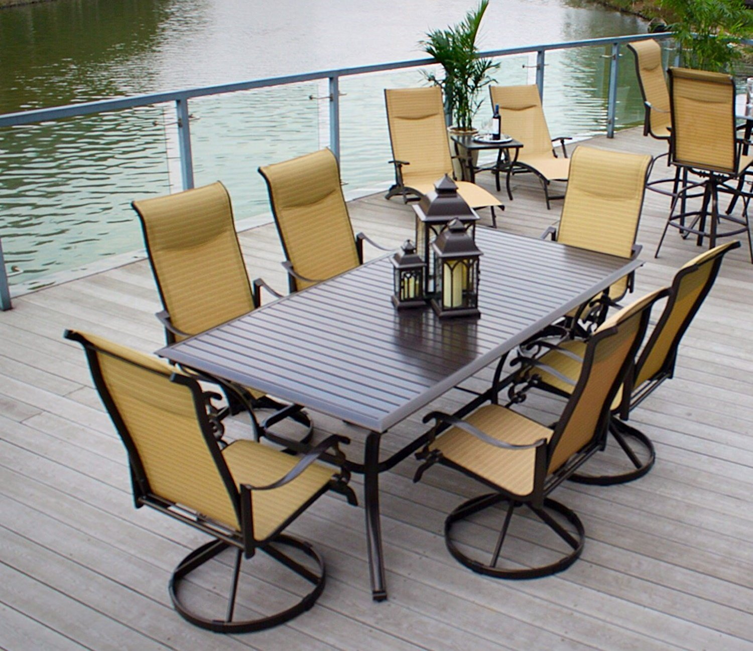 "Pebble Lane Living All Weather Rust Proof Indoor/Outdoor 7 Piece Cast Aluminum Patio Dining Set, 1 Slat Top Dining Table, 6 Swivel Rocking Dining Chairs with Padded Headrest & Umbrella, Brown/Cream - 6 Powder Coated Cast Alumiunum Swivel Rocking Bronze Chairs : 41"" H x 30"" D x 27"" W 1 Powder Coated Aluminum Slat Top Bronze Patio Table with Umbrella Hole: 82"" x 42"" x 29"" H Patio Dining Chairs have quick dry easy clean padded sling fabric with UV and Mold Resistant - patio-furniture, dining-sets-patio-funiture, patio - 81gTPFrUh8L -"