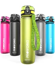 Proworks Leak-Proof Water Bottle | Fast Flow Swing Top Sports Flask ideal for Running, Cycling, Hiking & More | BPA-Free Tritan Plastic Drinks Bottle - 0.5 Litre (18oz) / 1 Litre (36oz)