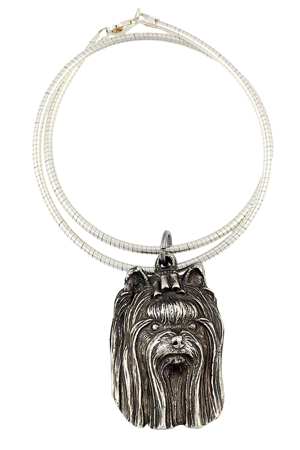 Necklace Silver Plated Dog Pendant on a Snake Chain ArtDog York Terrier