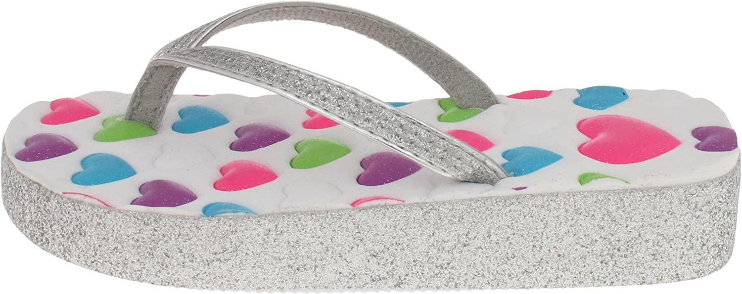 Capelli New York Girls Fashion Flip Flops With Ombre Print Silver Combo 1//2