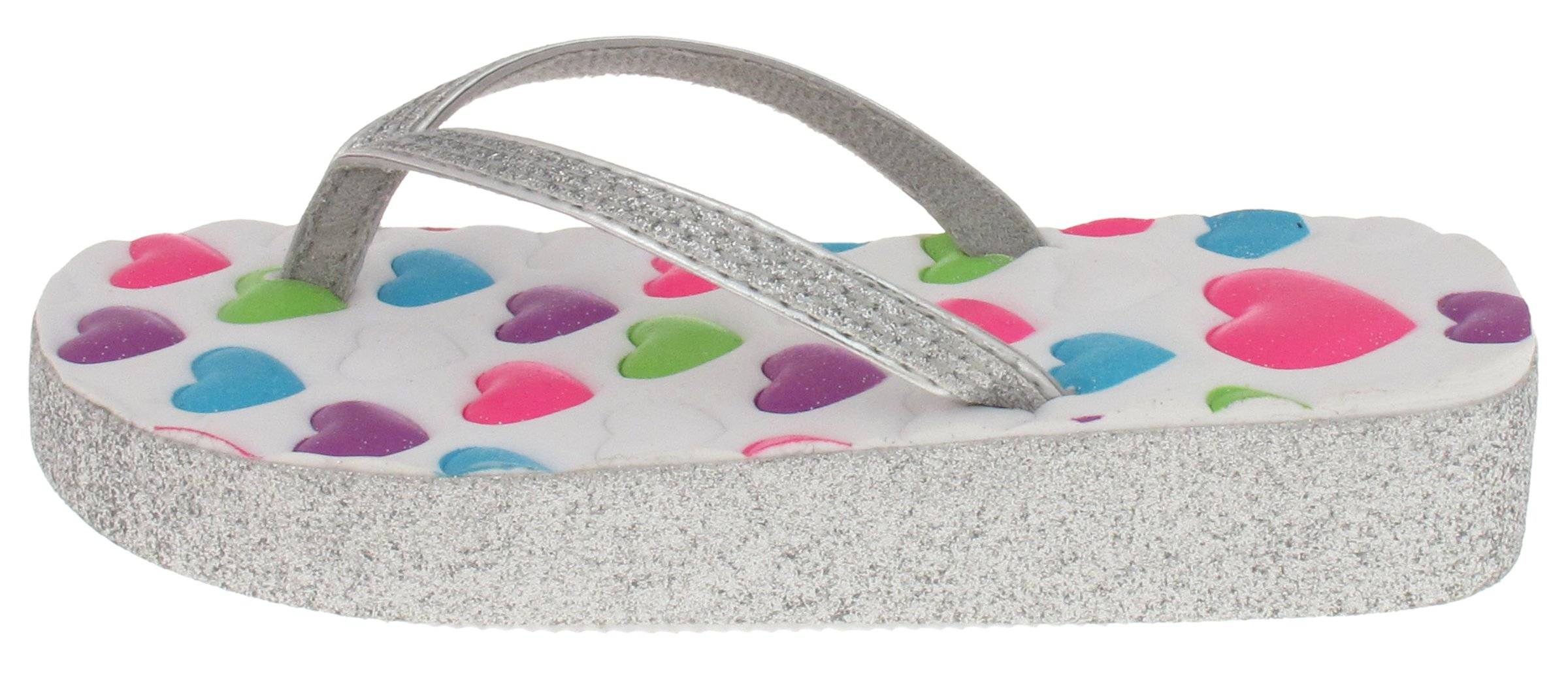 Capelli New York Girls Glitter Hearts Printed Flip Flops White Combo 1/2